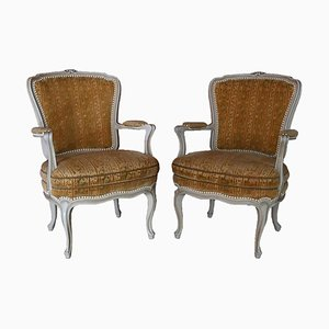 Antique Armchair in Gold Brocade Colors