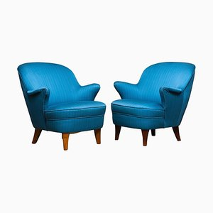 Petrol Fabric Club Lounge Chairs in the Style of Kurt Olsen, 1950s, Set of 2