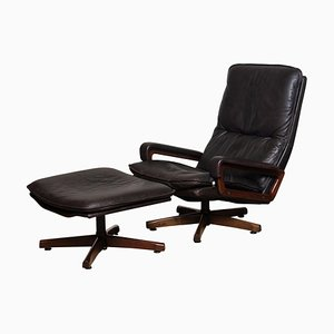 Brown Leather Swivel Chair and Ottoman Set by André Vandenbeuck for WK Mobler, 1970s