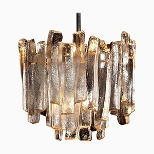 Chandelier with Frosted Glass Elements by J.T. Kalmar, 1970s