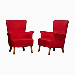 Fuchsia Easy or Lounge Chairs by Carl Malmsten for Oh Sjögren, 1940s, Set of 2