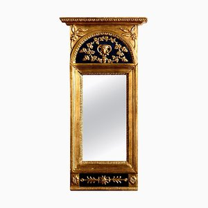 Antique French Empire Gilded or Painted Mirror with Decoration, 1800