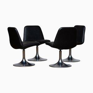 Black Vinga Swivel Chairs by Börje Johanson Markaryd Sweden, 1970s, Set of 4