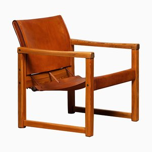 Cognac Leather Safari Chair Model Diana by Karin Mobring for Ikea, Sweden, 1970s