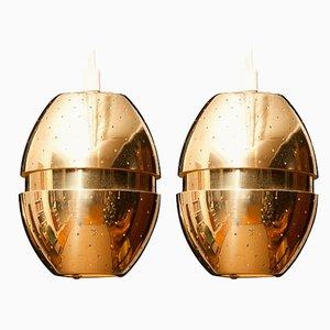 Brass Egg Pendants by Hans-Agne Jakobsson, 1950s, Set of 2