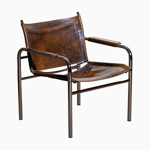 Leather and Tubular Steel Armchair by Tord Bjorklund, Sweden, 1980s