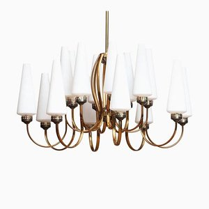 Large Brass Chandelier with White Murano Vases from Stilnovo, Italy, 1950s