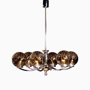 Chromed Chandelier with 6 Crystal Mazzega Globes from Kaiser Leuchten, 1960s
