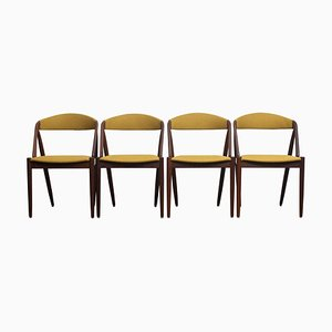 Walnut Dining Chairs in Ochre Model 31 by Kai Kristiansen, Denmark, 1960s