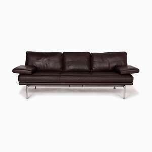 Living Platform Leather 3-Seat Sofa in Dark Brown by Walter Knoll