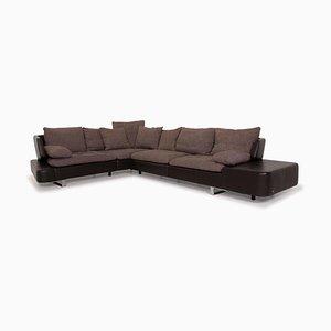 Opus Brown Leather Corner Sofa from Natuzzi