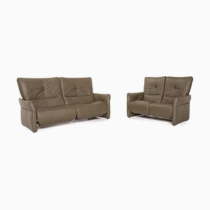 Cumuly Olive Leather Sectional 2-Seat & 3-Seat Sofa Set from Himolla