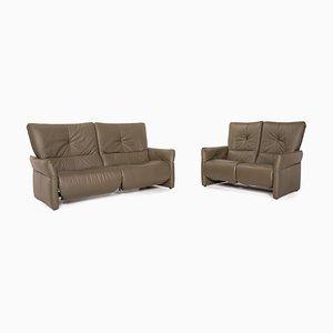 Olivgrünes 2-Sitzer & 3-Sitzer Sofa aus Cumuly Leder von Himolla