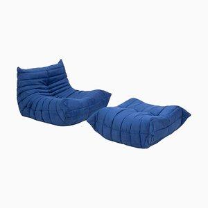 Togo Blue Armchair & Footstool by Michel Ducaroy for Ligne Roset, Set of 2