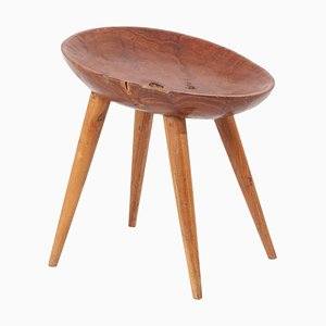 Sculptural Wood Stool with Carved Seat, France, 1960s