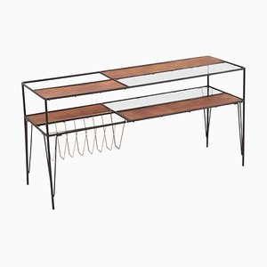 Modernist Magazine Rack or Side Coffee Table in Metal, Wood and Glass, US, 1950s