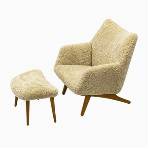 Lounge Chair with Ottoman Set by Illum Wikkelsø, 1950s