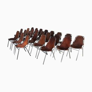 Vintage Leather Les Arcs Ski Resort Dining Chairs by Charlotte Perriand, 1960s, Set of 24