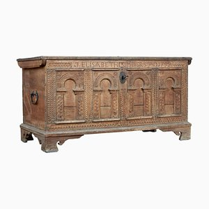 18th Century Carved Oak Coffer