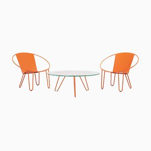 Sessel und Couchtisch in Orange, 2020, 2er Set