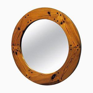Luxus Round Wall Pine Mirror by Uno & Östen Kristiansson, 1950s