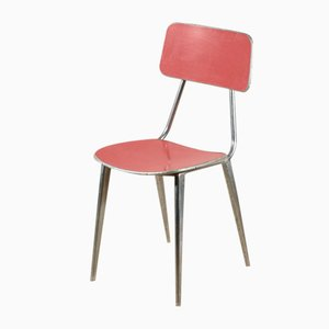 Vintage Italian Aluminum Ant Chair with Coral Red, 1950s
