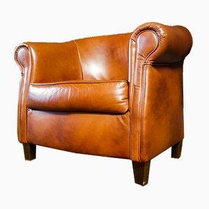 Vintage Cognac Brown Leather Armchair