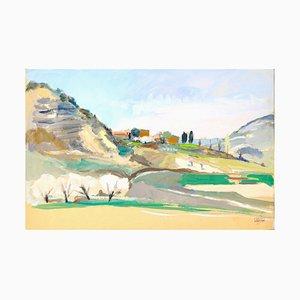 Jacques Ivane-Millérioux, Landschaft mit Vier Weißen Bäumen, Mitte 20. Jahrhundert