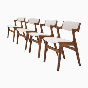 Esszimmerstühle aus Teak & Bouclé Wolle, Dänemark, 1960, 4er Set