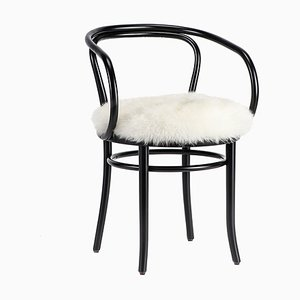 Chaise Viennoise Noire avec Siège en Fourrure Blanc de Thonet