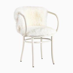 Weißer Wiener Stuhl mit Weißem Fell von Thonet