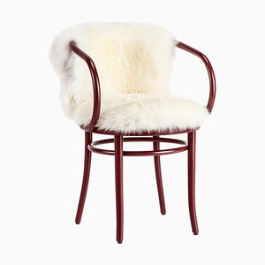 Red Viennese Chair with White Fur from Thonet