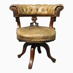 Mahogany & Leather Office Chair, 1880s