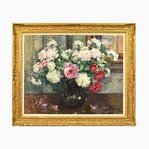 Florale Bemalung, Pfingstrosen in Rot & Weiß, Öl auf Leinwand, 20. Jahrhundert