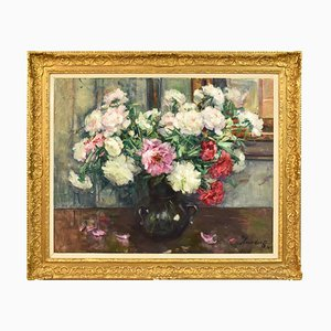 Flower Painting, Red and White Peonies, Oil on Canvas, 20th-Century