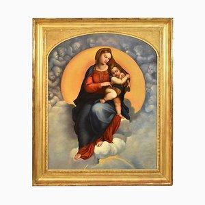 Peinture Religieuse, Vierge à Bébé, 19ème Siècle