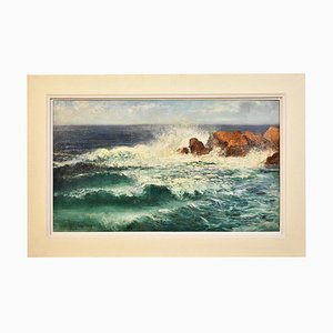 Marine Painting, Waves and Rock Painting, 20th-Century