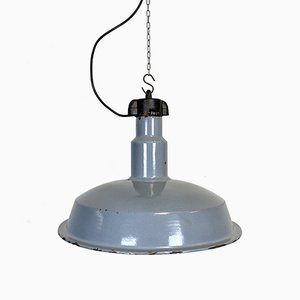 Industrielle Fabriklampe aus grauer Emaille, 1950er