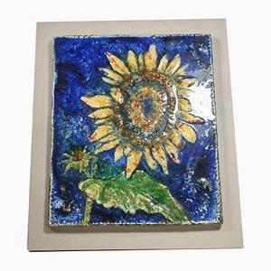 Mid-Century Sonnenblume Skulptur aus Keramik von Werner Meschede für Karlsruher Majolika
