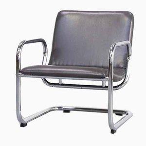 Bauhaus Leather & Tubular Lounge Chair, 1980s
