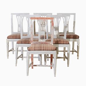 Gustavian Style Dining Chairs, Set of 6
