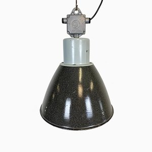 Industrial Gray Enamel Factory Lamp from Elektrosvit, 1960s