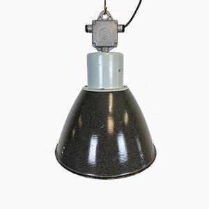 Industrielle Fabriklampe aus grauer Emaille von Elektrosvit, 1960er