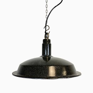 Industrial Dark Gray Enamel Hanging Lamp, 1950s