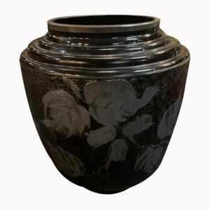 Art Deco Vase aus Glas & Silber von D'Argyl, 1920er