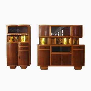 Beech Cupboards, 1950s, Set of 2