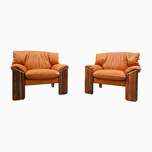 Italian Cognac Leather Armchairs by Sapporo for Mobil Girgi, 1970s, Set of 2