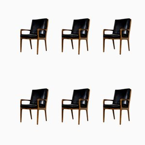 Konferenz Ledersessel mit hoher Rückenlehne von Eugen Schmidt, 1960er, 6er Set