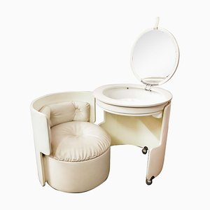 White Leather Dilly Dally Vanity Unit by Luigi Massoni for Poltrona Frau, 1968