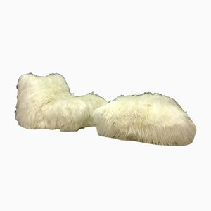 Vintage Sheepskin Togo Lounge Chair & Footstool from Ligne Roset, Set of 2